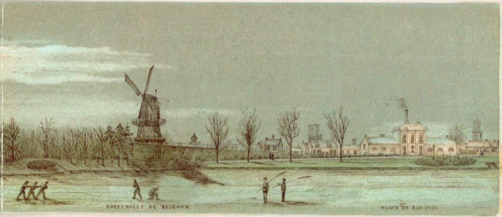Gezicht op het Paardenveld te Utrecht met de molen - 135009 collectie Het Utrechts Archief (Groot) | Historie singel